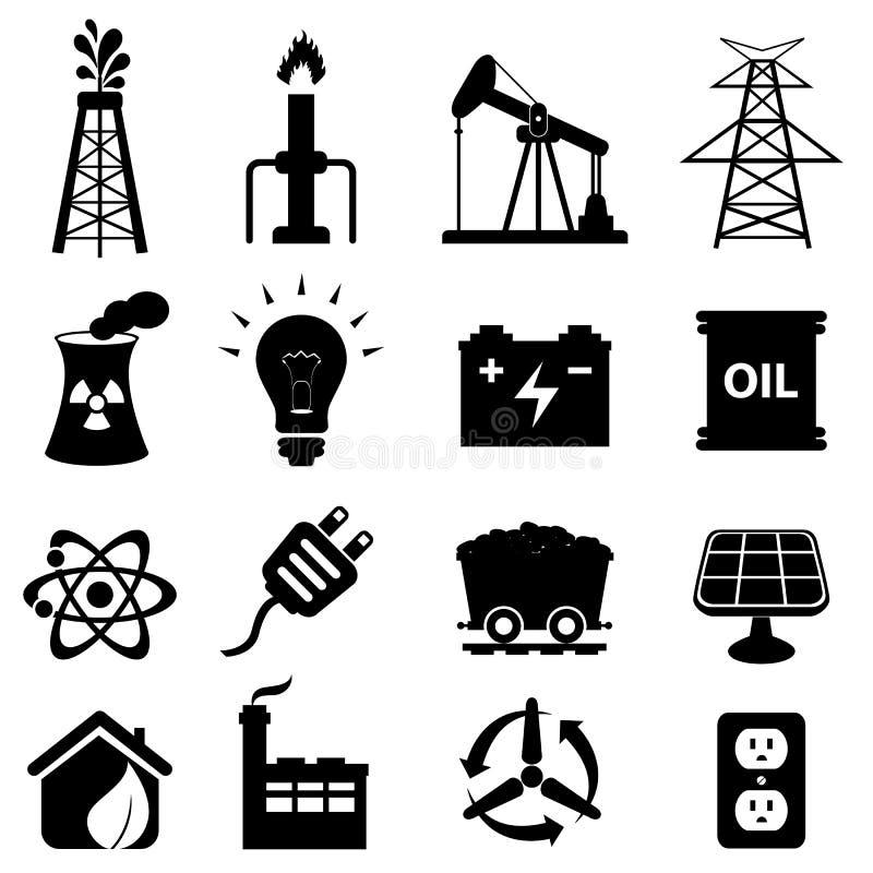 Energisymbolsset royaltyfri illustrationer