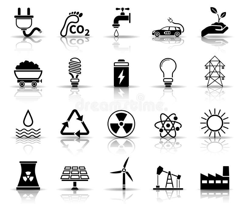 Energisymbolsuppsättning vektor illustrationer