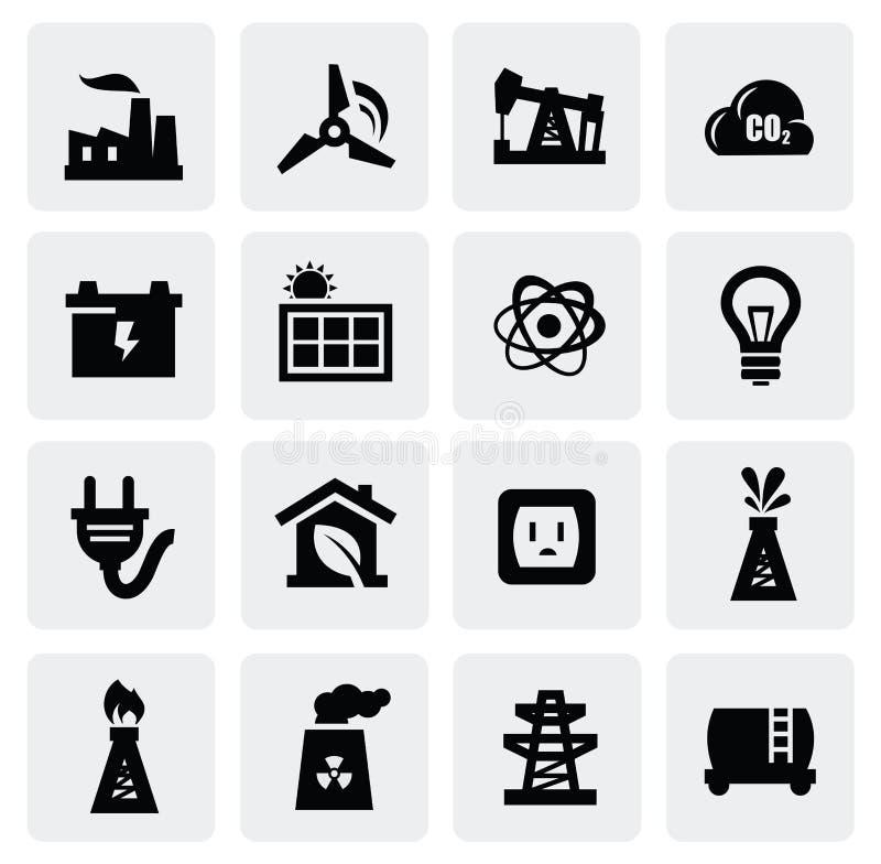 Energisymbolsuppsättning stock illustrationer