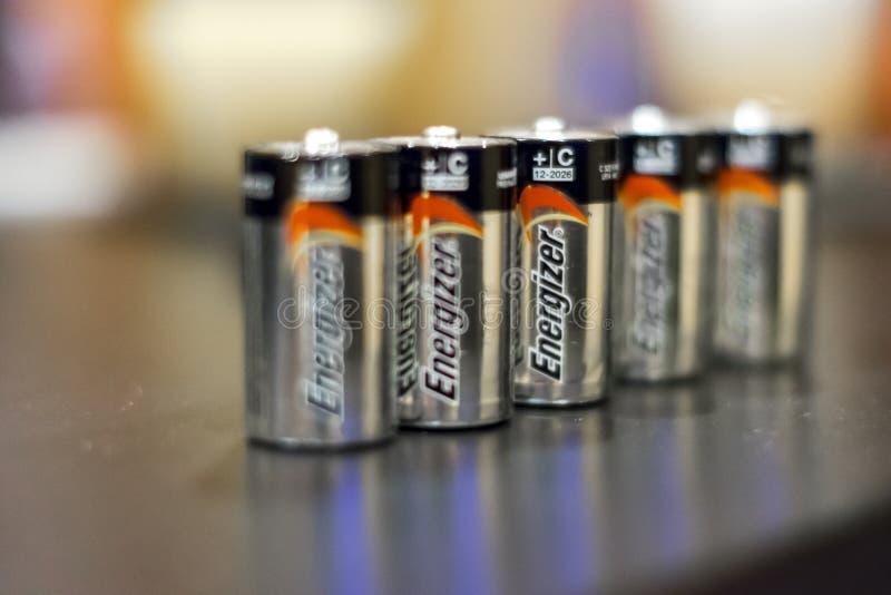 Energizerbatterier för typ C arkivfoto