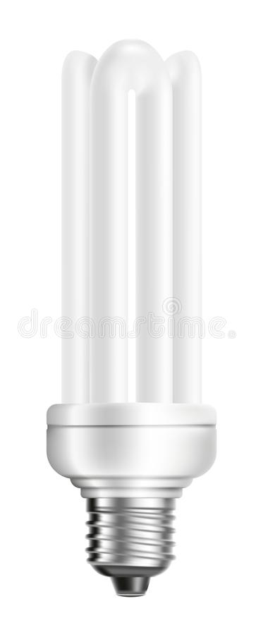 Energooszczędna żarówka odizolowywająca na biały tle royalty ilustracja