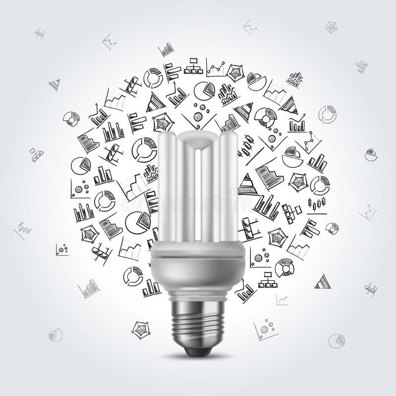 Energooszczędna żarówka z diagram ikonami ilustracji