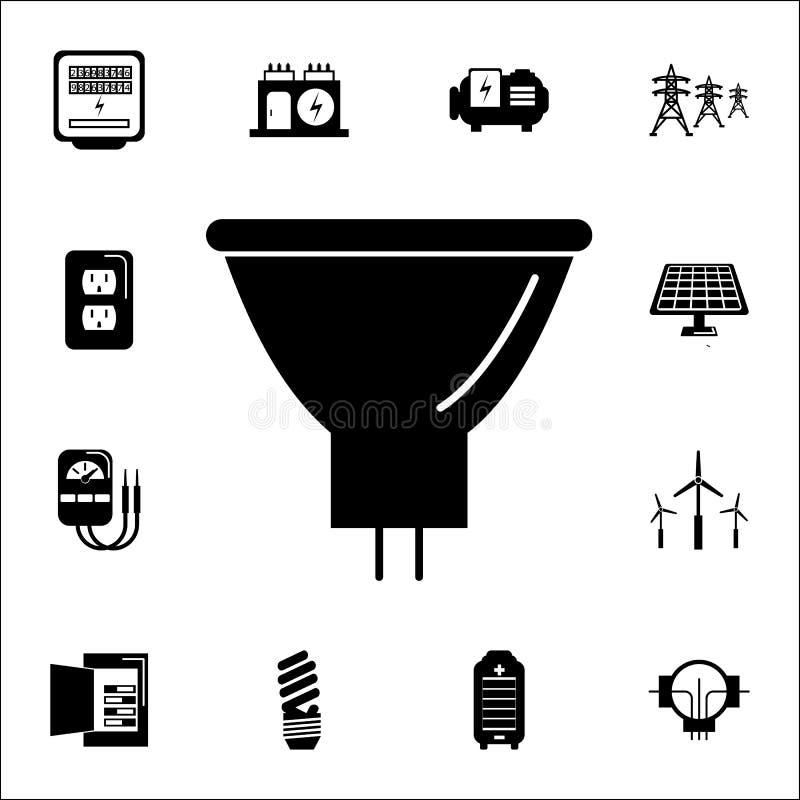 Energooszczędna fluorescencyjna żarówki ikona Set Energetyczne ikony Premii ilości graficznego projekta ikony znaki i symbole ink ilustracja wektor
