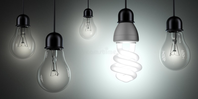 Energooszczędne i proste żarówki ilustracji