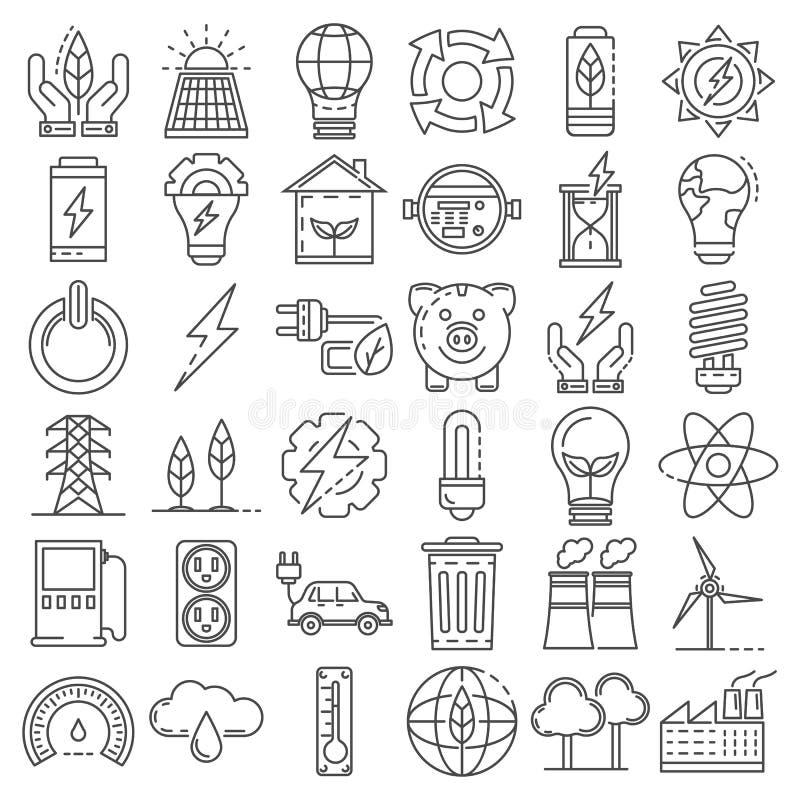 Energooszczędny ikona set, konturu styl royalty ilustracja