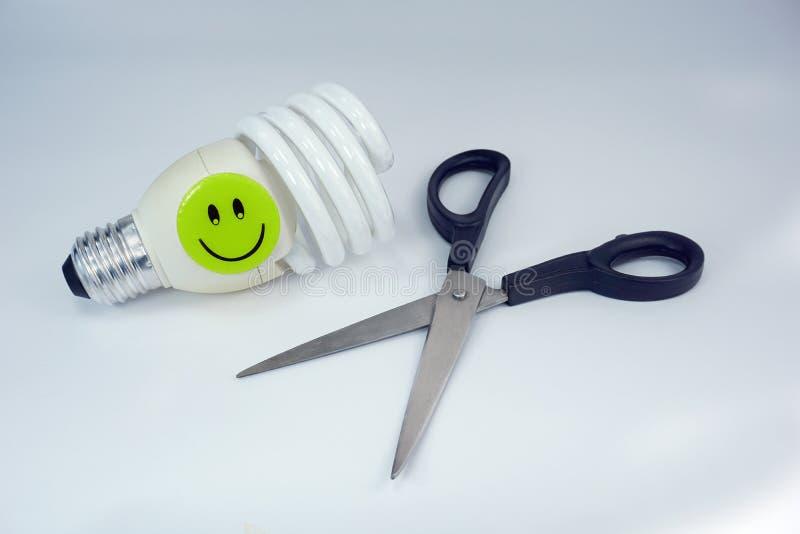 Energooszczędnych dowodzonych żarówka nożyc smiley szczęśliwa twarz na odosobnionym białym tle fotografia royalty free