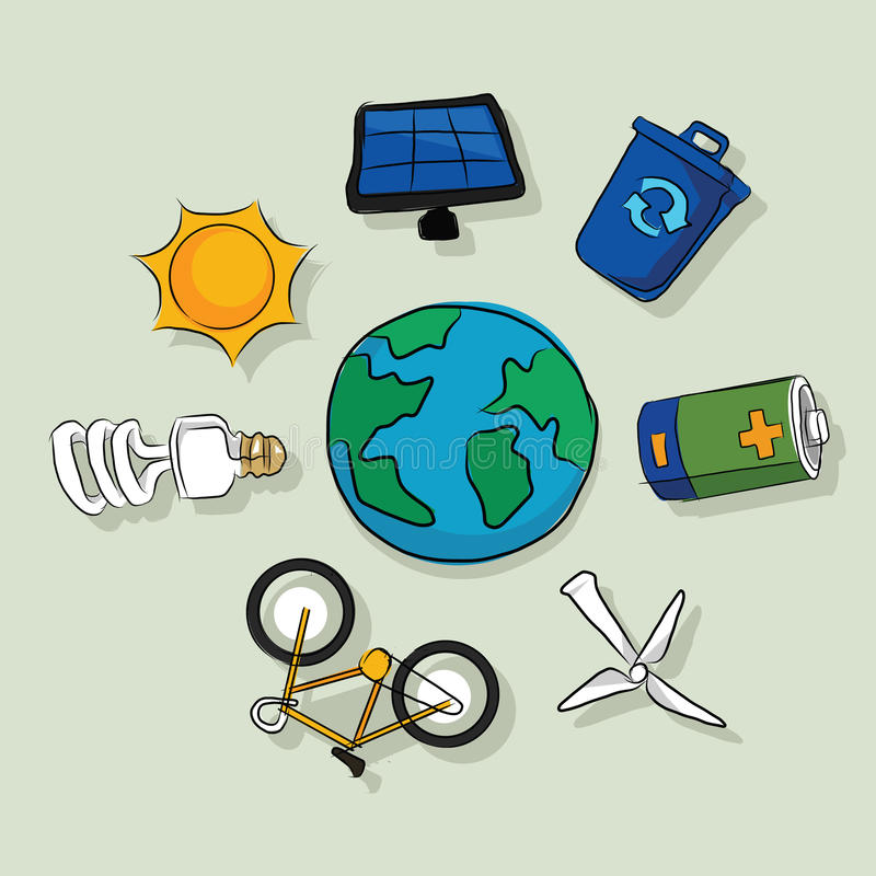 Energy alternative icons solar panel wind efficient eco friendly drawing sketch in color stock illustration