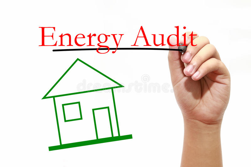 Energy Audit - House with text and male hand with pen. House with text and male hand with pen royalty free stock image