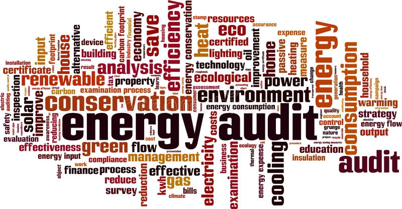 Energy audit word cloud vector illustration