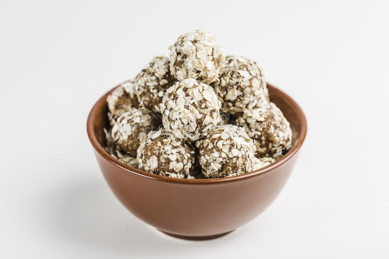 Energy balls of nuts oats and dates stock image