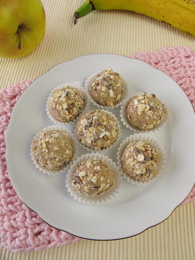 Energy balls from roasted barley flour stock images