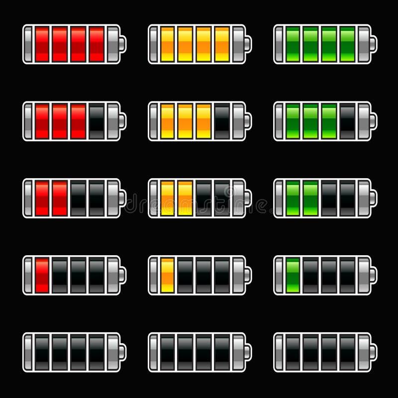 Energy bar battery level. Game set symbol vector illustration