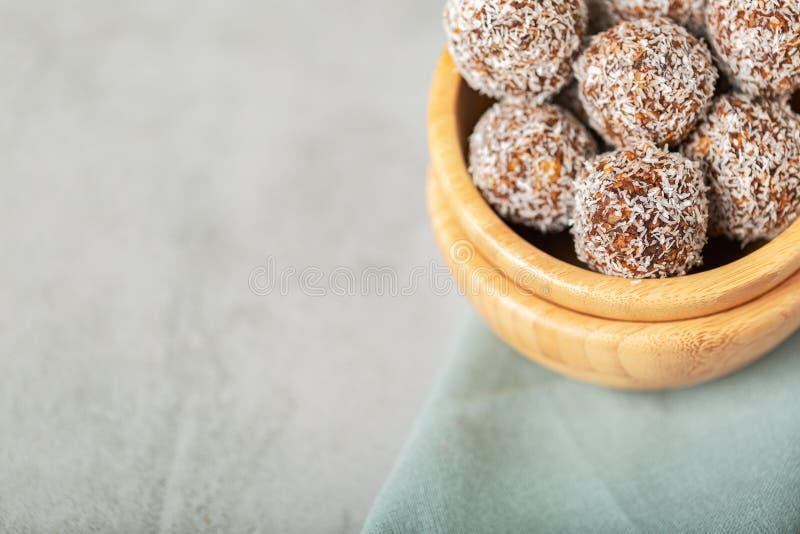Energy bites for raw vegan diet , no bake stock image