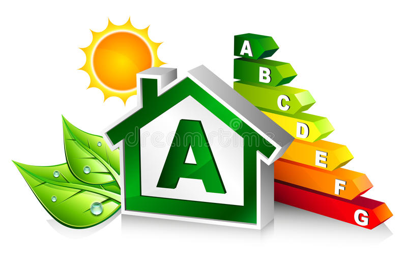 Energy certification with house vector illustration