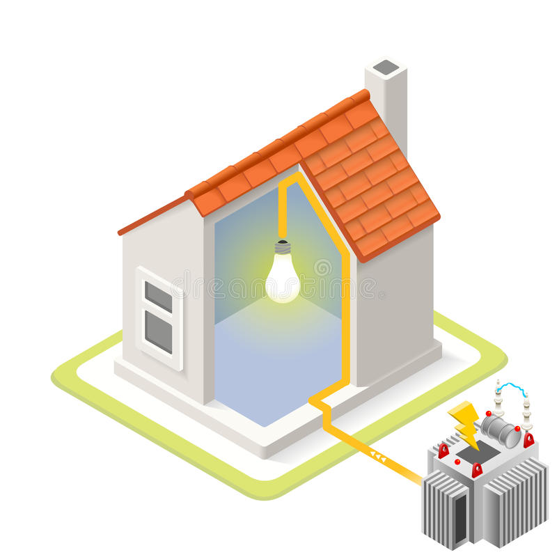 Energy Chain 09 Building Isometric royalty free illustration