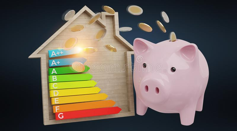Energy chart rating and piggy bank illustration 3D rendering. Energy chart rating and piggy bank illustration on black background 3D rendering royalty free illustration