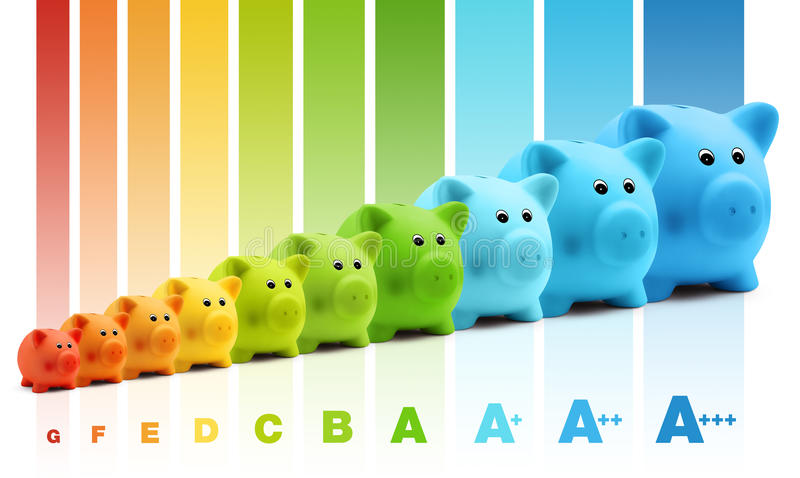 Energy class efficiency scale savings of colorful piggy bank stock photography