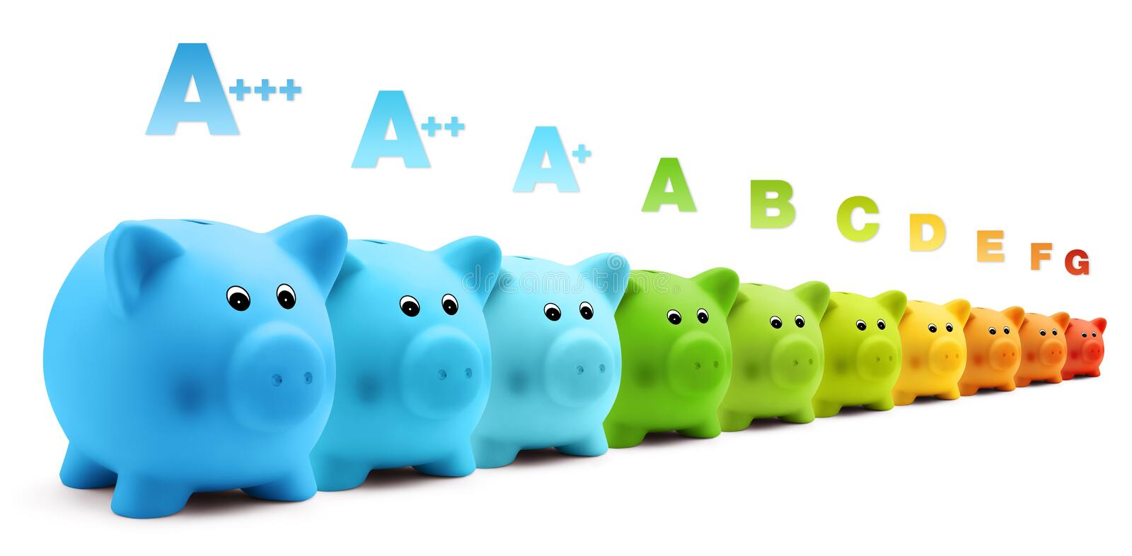 Energy class efficiency scale savings of colorful piggy bank. Isolated on white background stock image