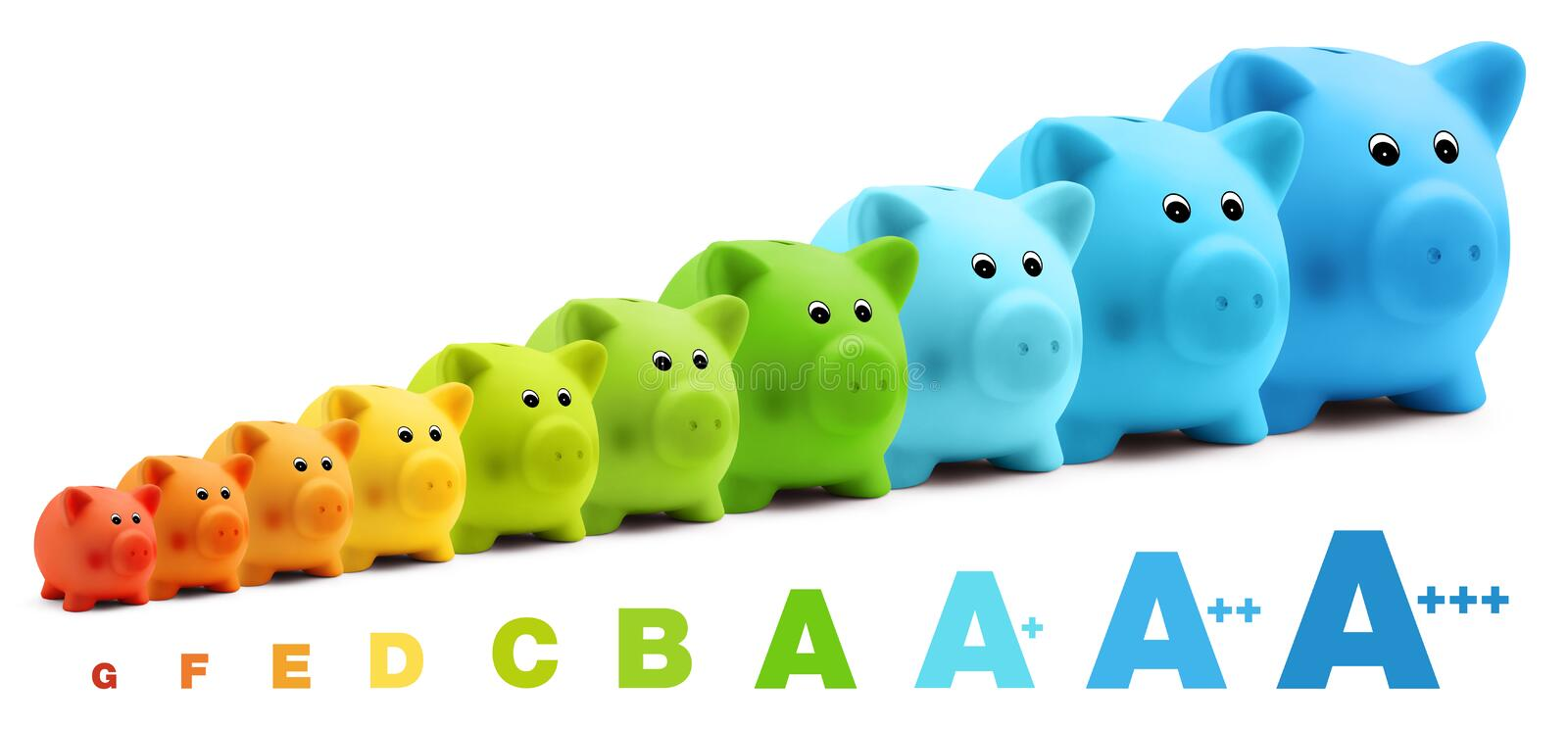 Energy class efficiency scale savings of colorful piggy bank royalty free stock photos