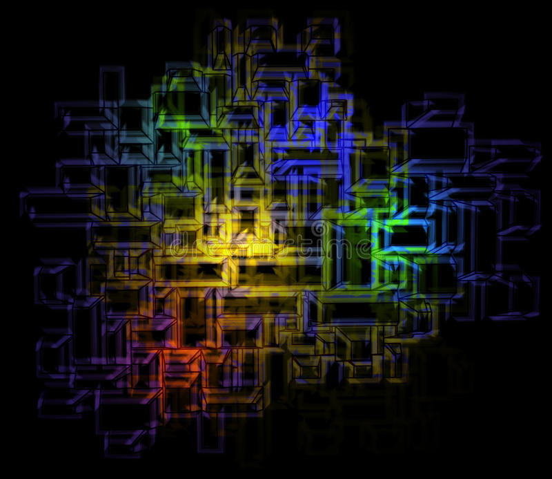 Download Energy Color Splash In Abstract Rectangular Lines Stock Illustration - Image: 26163854
