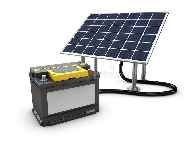 Energy concept background with solar panel and charging battery, 3d illustration. Energy concept background with solar panel and charging battery. 3d stock illustration