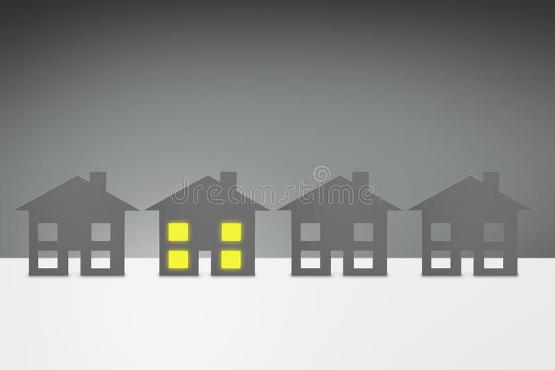 Energy concept, family House. With all lights turned on stock illustration