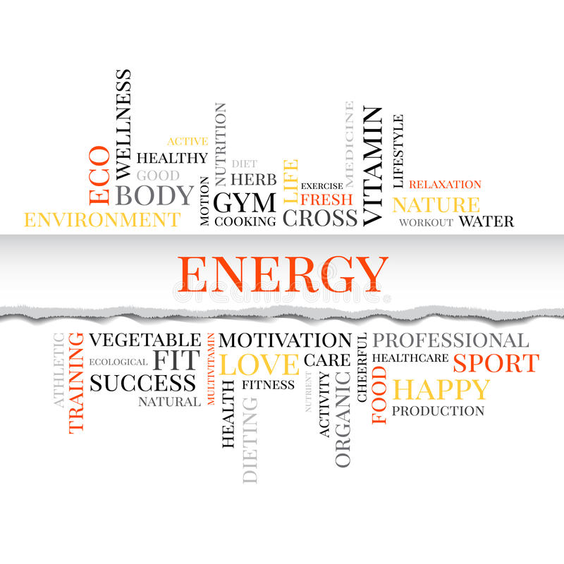 Energy concept related words in tag cloud. With different association sport and fitness terms. The effect of torn paper royalty free illustration
