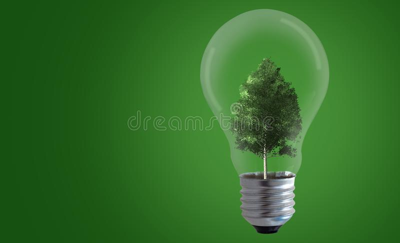 Energy Concept Background. Energy concept, tree and light bulb on green background, nature and ecology stock photography