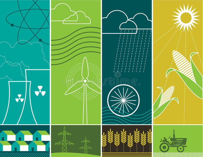 Energy Concepts. This is a combination of vertical banner illustrations depicting energy concepts. The drawings illustrate nuclear, wind, hydraulic, and solar stock illustration