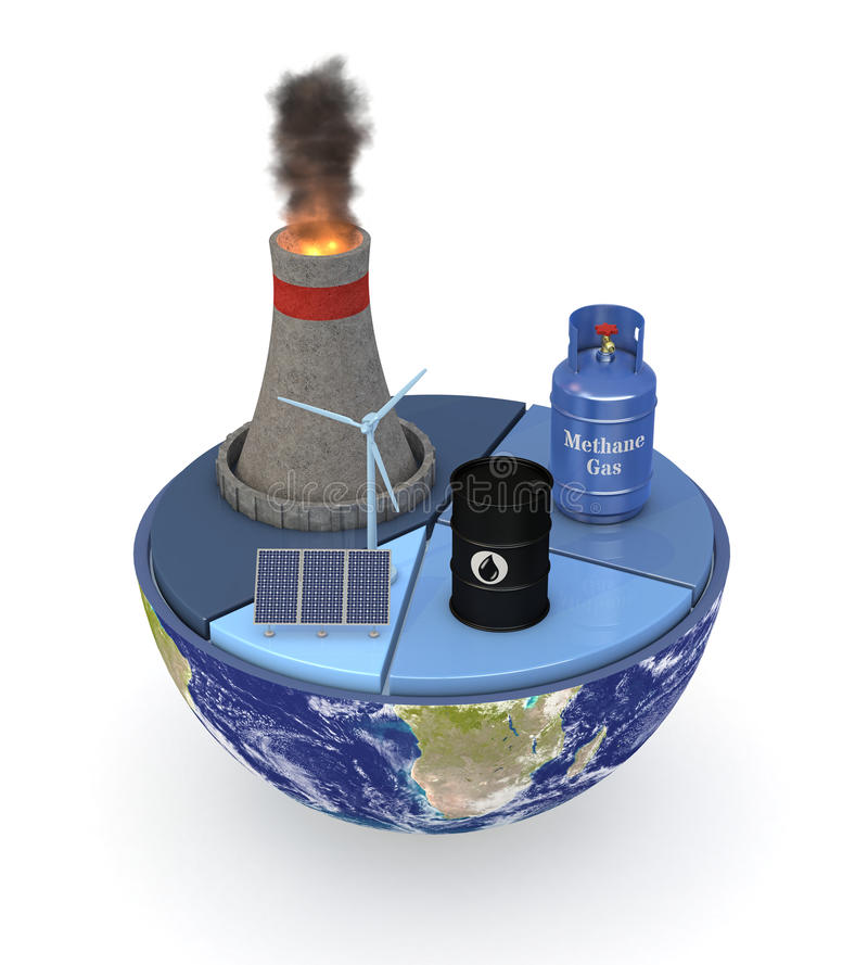 Energy consumption statistics. Half of an earth globe with a pie chart and various energy sources symbols; energy consumption statistic; earth map courtesy of stock illustration