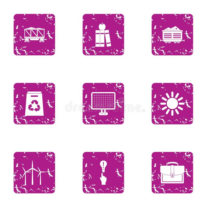 Energy conveyance icons set, grunge style. Energy conveyance icons set. Grunge set of 9 energy conveyance vector icons for web isolated on white background stock illustration