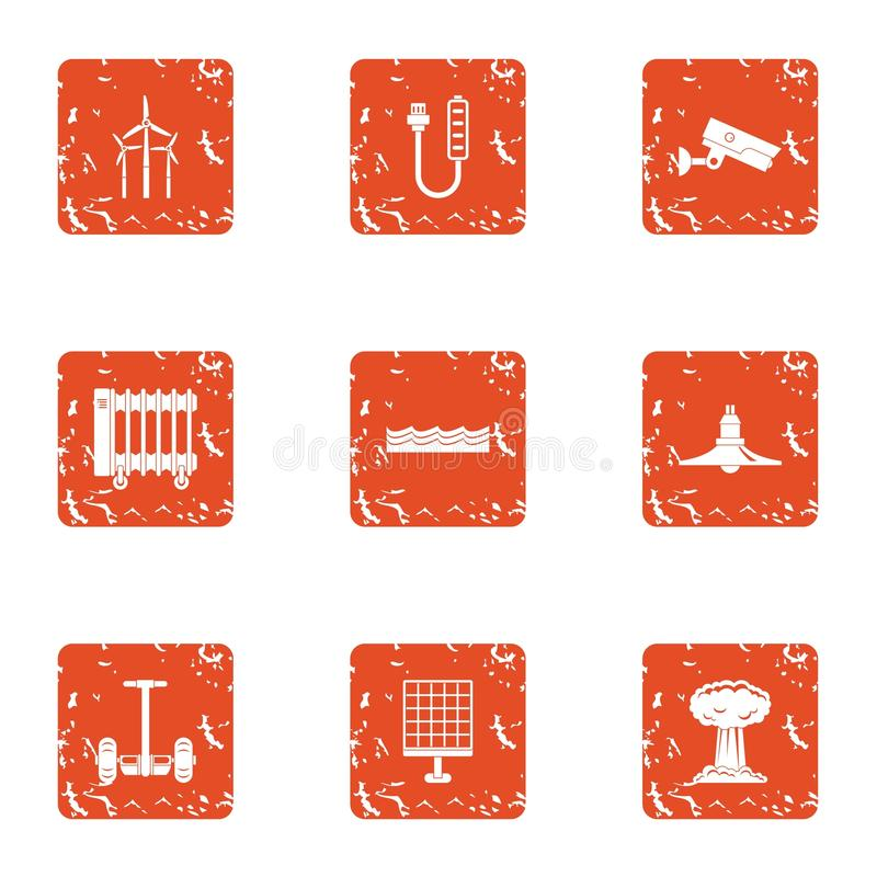 Energy crunch icons set, grunge style. Energy crunch icons set. Grunge set of 9 energy crunch vector icons for web isolated on white background royalty free illustration