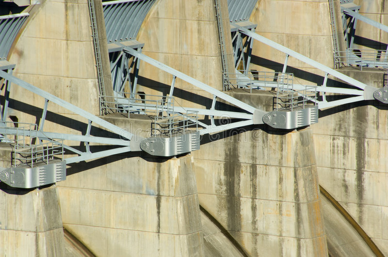 Energy Dam at a lake. Energy producing power station on a dam at a lake royalty free stock images