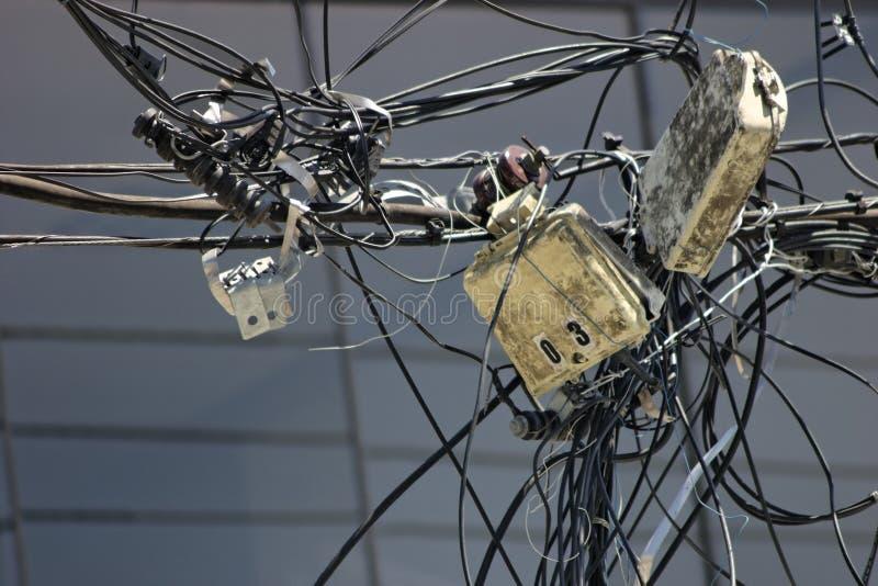 Energy distribution mess stock photography