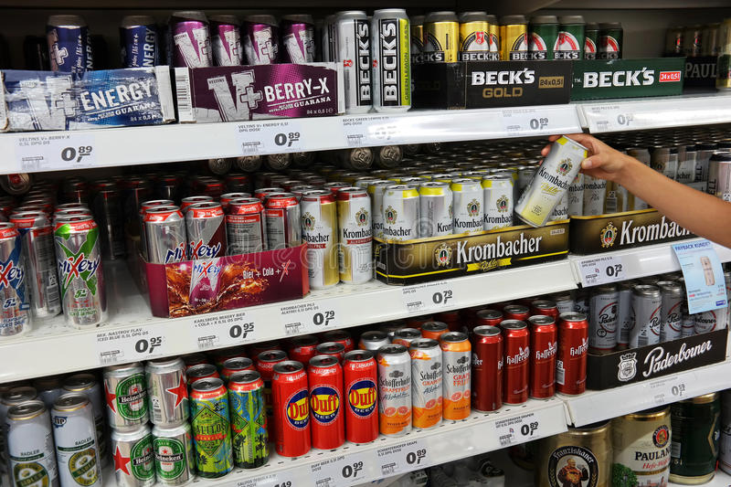Energy drink cans royalty free stock photo
