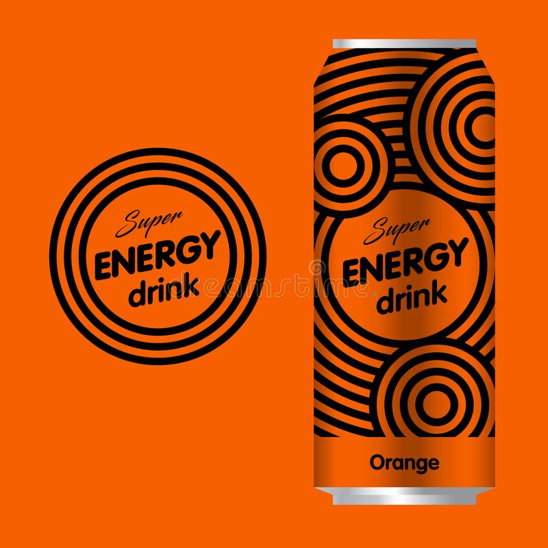 Energy drink logo. Power drink logo. Logo and Packaging with an orange background. The minimalist style vector illustration