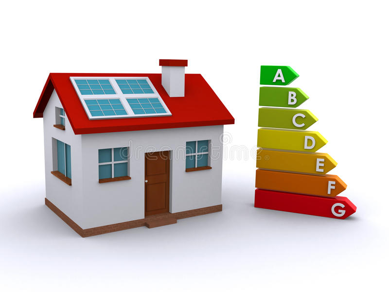 Energy efficiency. House with solar panel and an energy rating chart (3d render) royalty free illustration