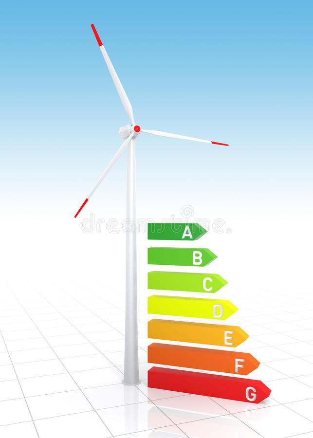 Energy Efficiency Bar Chart and Wind Turbine stock illustration