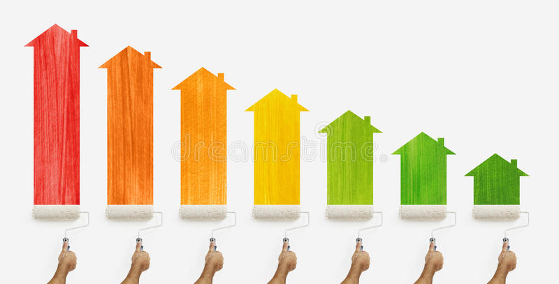 Energy efficiency class concept, hands with paint roller stock illustration
