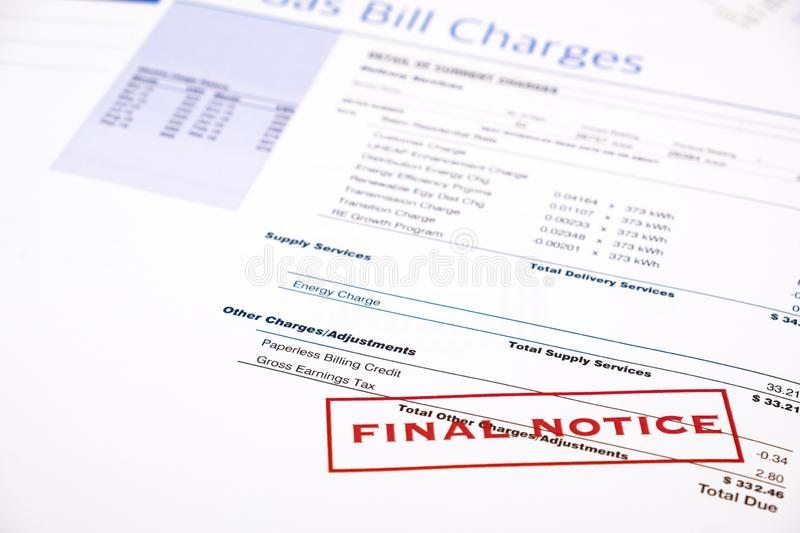 Energy efficiency concept and energy bill papers royalty free stock images
