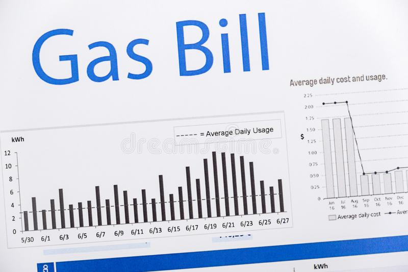 Energy efficiency concept and energy bill papers stock image