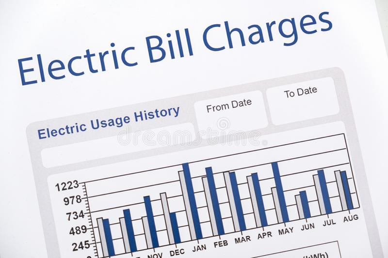 Energy efficiency concept and energy bill papers royalty free stock photo