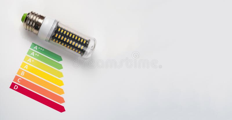 Energy efficiency concept with energy rating chart and LED lamp stock photo