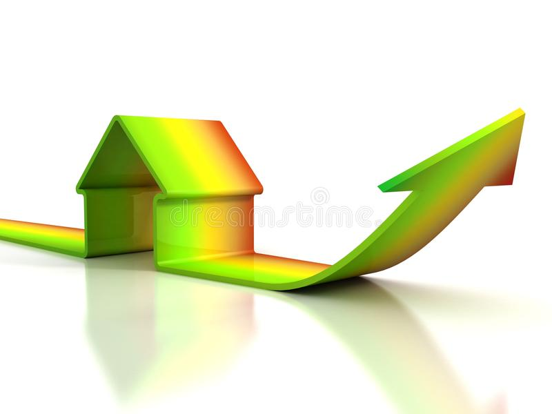 Energy efficiency concept house and arrow on white background. 3d stock illustration