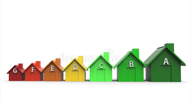 Energy efficiency directive and multi colored houses. Multi colored houses energy efficiency directive concept. 3d illustration. Green energy and ecology concept stock illustration