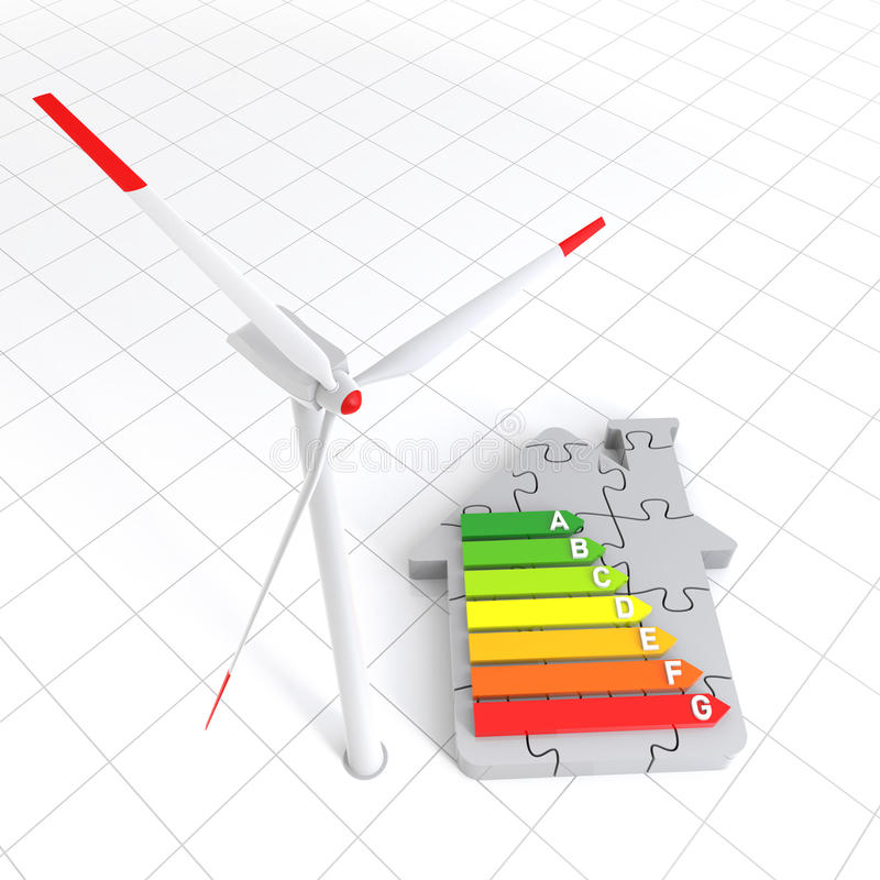 Energy Efficiency Home Puzzle and Wind Turbine royalty free illustration