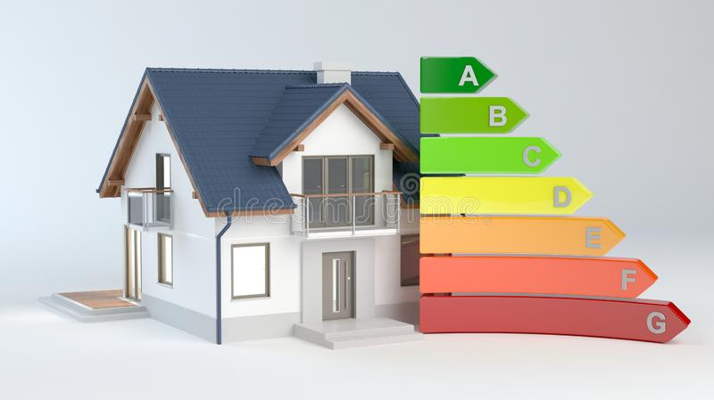 Energy Efficiency - House No.9, 3D illustration royalty free illustration