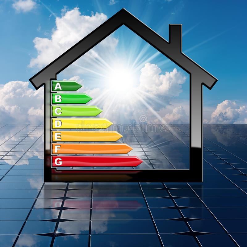 Download Energy Efficiency   House On A Solar Panel Stock Illustration    Illustration Of Building,