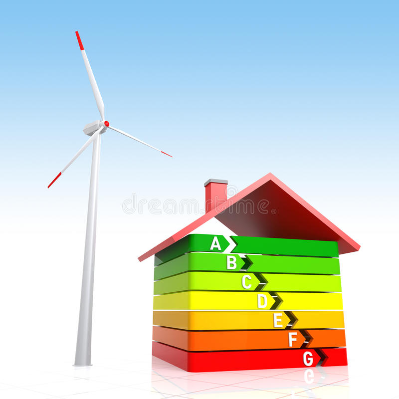 Energy Efficiency House and Wind Turbine vector illustration