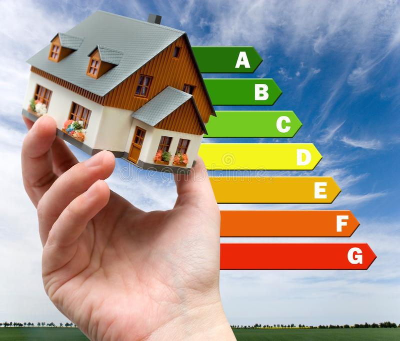 Energy efficiency label for house / heating and emoney savings -. Energy efficiency label for house / heating and money savings - model of a house in a hand stock photos